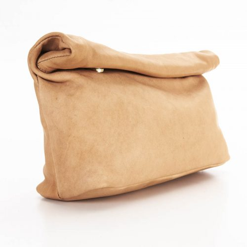 Raw Tan Roll Clutch Bag2