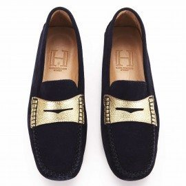 a. Posillipo Loafer with band Navy Gold 1