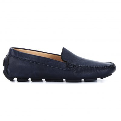 Classic Navy Leather Loafer Side View