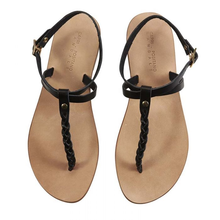 Fornillo black braided sandal 1 capri positano sandals italian sandals