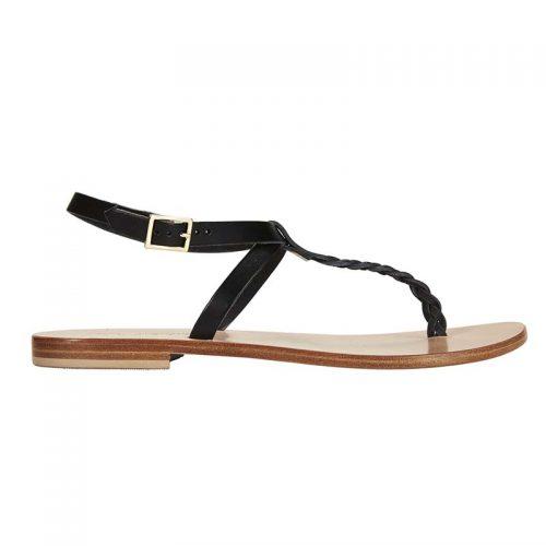 Fornillo black braided sandal side 2 capri positano sandals italian sandals