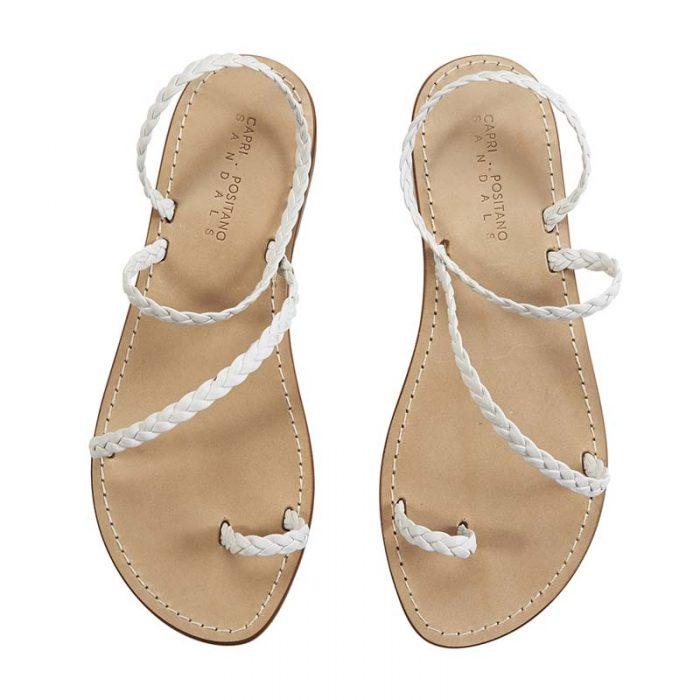 Livia white braided sandal 1 capri positano sandals italian sandals